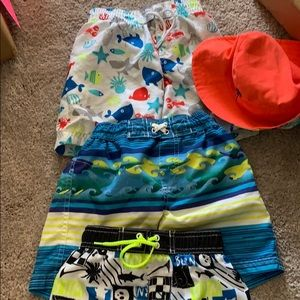 EUC Toddler Boys Bathing Suit Bundle w/ Hat